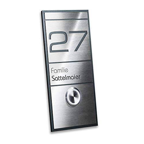Deurbel roestvrij staal antraciet LED-knop verlichting - met huisnummer & naam - inbouw