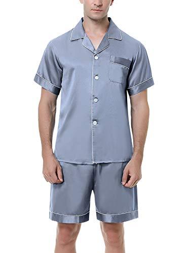 Irevial Herren Zweiteiliger Schlafanzug Satin Pyjama Kurz Sommer Nachtwäsche mit Kragen Knöpfeleiste