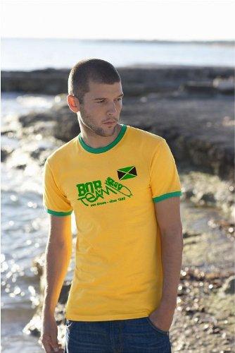 Jamaica/Jamaika Bob Team Ringer T-Shirt Reggea-Gelb-XXL