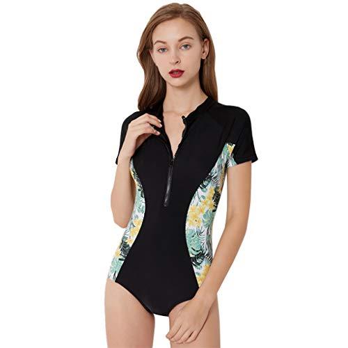 ZEELIY Femmes Nouveau Anti-UV Combinaison de Plongée ❀ Mode d impression Combinaison de Surf siamoise à Manches Courtes Grande Taille pour sous-Marine et la Natation Surf S-XXL