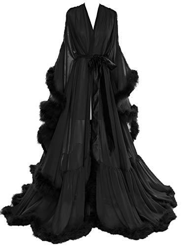 Molisa Women s Sexy Feather Bridal Robe Long Wedding Scarf Illusion Bathrobe Sleepwear Lingerie Robe Nightgown Black S/M