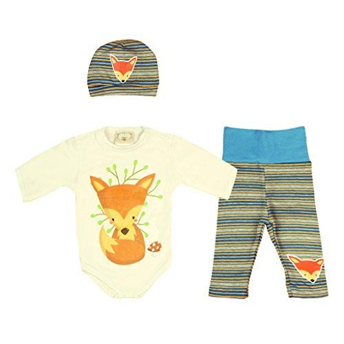 Kleines Kleid Waldtiere Fuchs Dreiteiler Set für Jungen Farbe Modell 1, Größe 74