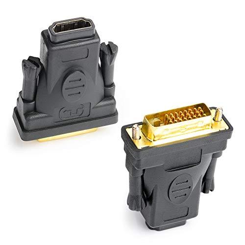 J&D Adaptateur DVI vers HDMI, Paquet de 2 Plaqué Or Adaptateur Convertisseur DVI (DVI-D) Mâle vers HDMI Femelle, Bidirectionnel Support 3D 4K Arc Ethernet