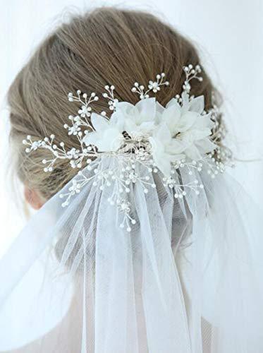 Anglacesmade Brautschmuck Haarkamm Blume Haarschmuck Hochzeit Schleier Blumen Kopfschmuck Strass Perle Haarschmuck Haarspange Hochzeit Schmuck für Frauen und Mädchen