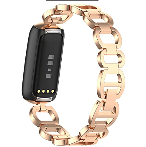 KangPlus - Cinturino di ricambio in metallo, compatibile con Fitbit Luxe, in acciaio inox, stile vintage, cinturino regolabile da 15,5 a 22,1 cm, colore: Oro rosa