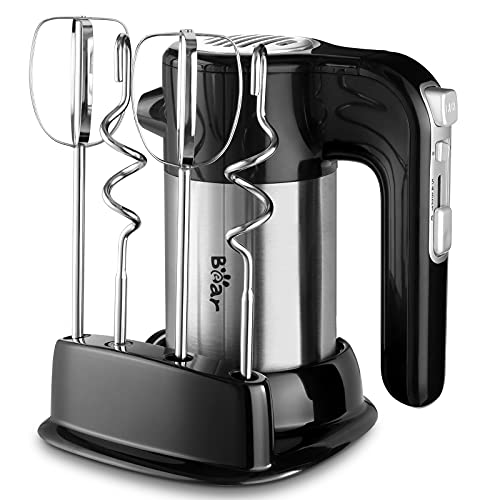 Bear Hand Mixer Electric, 300W Power Handheld Mixer with Turbo Boost, Eject Button, 4 Stainless Steel Accessories, Storage Base, 2x5 Speed Electric Hand Mixer for Easy Whipping Dough, Cream, Cake, Deep Black
