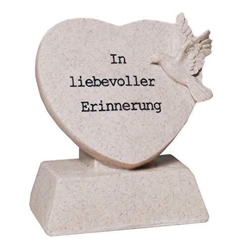 Grabschmuck Herz mit Spruch In liebevoller Erinnerung Grabdekoration Grabherz Trauerschmuck Trauerdeko Trauerherz
