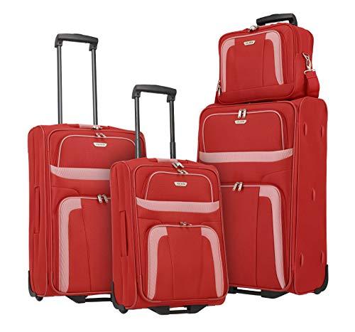 Travelite 2-Rad Koffer Set Größen L/M/S + Bordtasche, Handgepäck erfüllt IATA Bordgepäck Maß, Gepäck Serie ORLANDO: Klassischer Weichgepäck Trolley im zeitlosen Design, 098480-10, rot