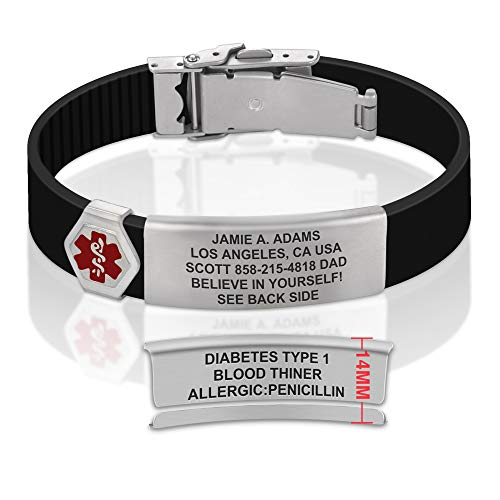 Divoti Sport ID Medical Alert Bracelet – Personalized Medical ID Bracelet – Trim-to-Fit Adjustable True Black Silicone Band w/Security Clasp & Dual-Side Engraving - Ultra - Red