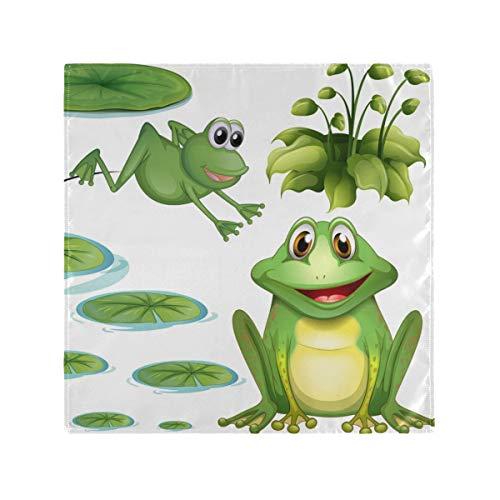 XiangHeFu Teich grüner Frosch Seerose Blume Tuch Servietten Tisch waschbar 20 x 20 Zoll Wiederverwendbare Dinner-Party leicht zu reinigen