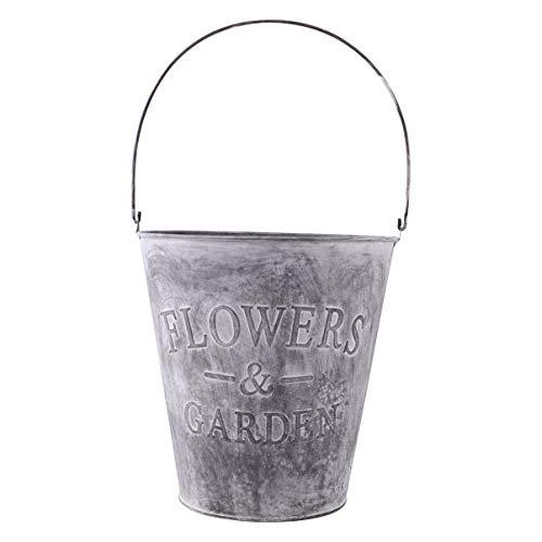 Cubo de metal para macetas, con asa, vintage, maceta para plantas artificiales,...