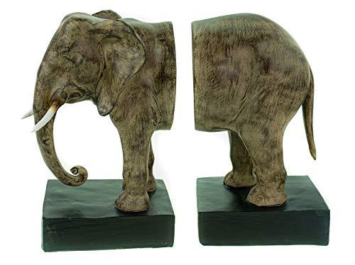 J. Keerste B.V. Set van 2 boekensteunen olifant 31 cm Afrika deco boekstand boekensteunen