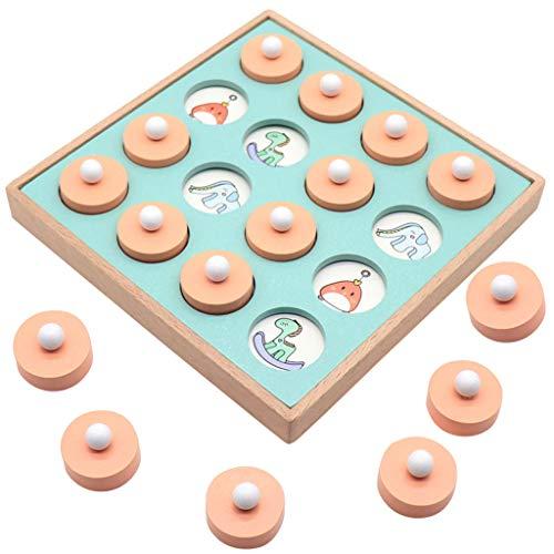 Toys of Wood Gedächtnisspiel Memory, Montessori Spielzeug Brettspiel aus qualitative Holz, 3 4 5 Jahre alt Jungen und Mädchen,1 Schachbrett Multiple Karte (A)