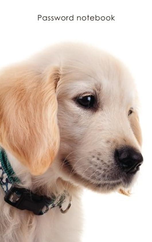 順応性顕著曲Password notebook: Small internet address and password logbook / journal / diary - Golden Retriever puppy cover