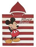 Mickey Poncho Toalla Microfibra, Toalla con Capa Disney Rojo Rayas 50x100cm