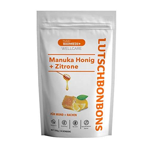 Purao Biomedi+ Manuka Honig Bonbons mit Zitrone - wohltuend für Mund und Hals - 200g im wiederverschließbarem Beutel - aus Neuseeland