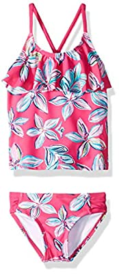 Kanu Surf Girls' Big Flounce Tankini Beach Sport 2-Piece Swimsuit, Charlotte Pink Floral, 10