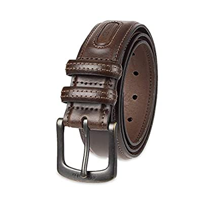 Columbia Men's Big and Tall Classic Logo Belt-Casual Dress with Single Prong Buckle for Jeans Khakis, Brown, 50