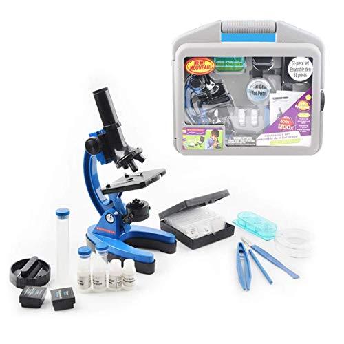 XDDWD Kinder-Mikroskop Set 100X-600X-1200X mit Metall Arm und Fuß und viele Accessoires mit Speichergase für Studenten und Kinder,2