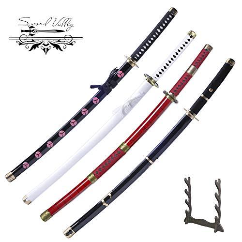 Sword Valley Handmade Katana Japanisches Samuraischwert, Roronoa Zoro Anime Schwerter, Rasiermesserscharfe Messer, Kitetsu, Shusui, Wado Ichimonji, Yubashiri 4-teiliges Set Reguläre Version
