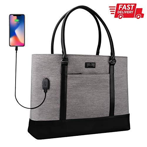 Laptop Tote Bag, 15.6 Inch Laptop Large Work Bag Purse USB Teacher Bag for Women