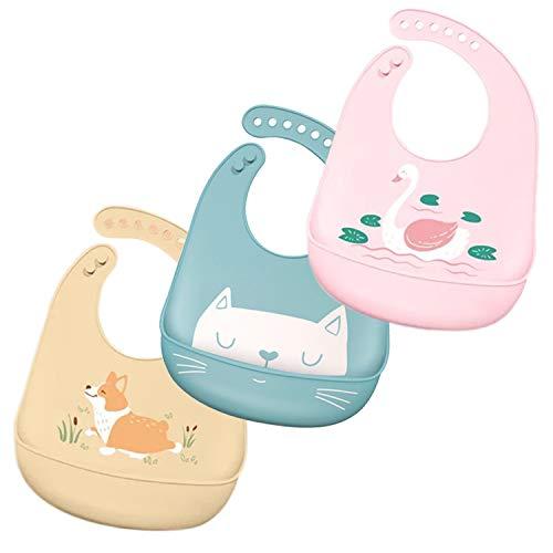 ZHEZHE Wasserdicht ,Reinigung ,Schadstofffrei,3 weiche Silikon Babylätzchen mit Auffangschale,BPA-freies Silikon,Geeignet für Jungen und Mädchen