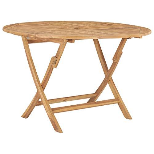 vidaXL Teak Massiv Gartentisch Klappbar Klapptisch Esstisch Holztisch Teaktisch Tisch Gartenmöbel Terrassentisch Balkontisch Ø120cm