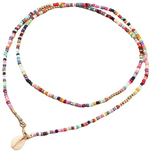 Tianbi Collar de perlas bohemias, collar de cadena de cuentas con colgante de concha, collar de disfraz bohemio, joyería para mujeres y niñas