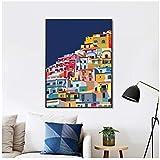 Positano Italia Imprimir Costa de Amalfi Colorido Arte de la pared Lienzo Pintura Arquitectura Arte Costa de Amalfi Cartel Decoración Viajero