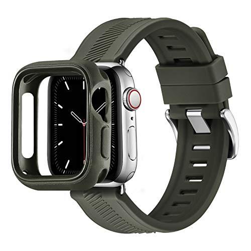 RTYHI Compatible con Apple Watch Correa de 44 mm, 40 mm, 42 mm, 38 mm, silicona suave, correa de repuesto extraíble, compatible con iWatch Series 6/SE/5/4/3/2/1 (38 mm, 40 mm, verde militar)