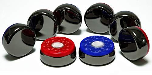 Shuffleboard Pucks for Shuffleboard Table in Regular Size, 2-5/16' (Black Chrome, Red Blue 58mm)