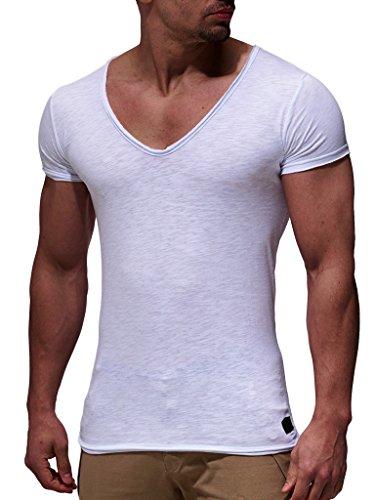 Leif Nelson Herren Oversize T-Shirt tiefer V-Ausschnitt Shirt Basic LN6280; Größe M, Weiss