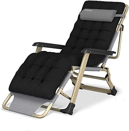 Recliner FGVDJ Lightweight Oversize XL Reclining Chair Zero Gravity Chair, Folding & Reclining Sun Lounger Chair with Head Pillow Deck Chairs Relaxer with Black Cotton Cushion Seat Max.300kg 178x68x25