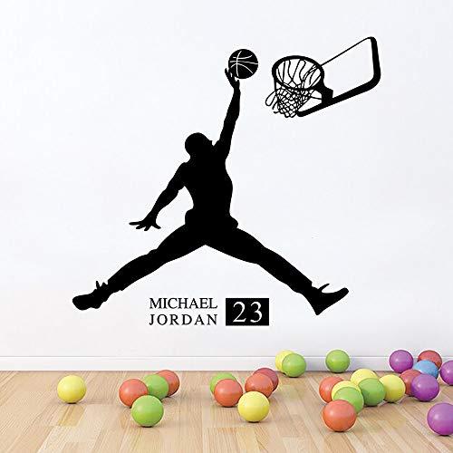 58x56cm, Streich-Aufkleber, Sport-Basketball-Spieler von Eingangskindern mit umweltfreundlichem und Kleber-Grafik-Kinderaufkleber-Grafik-Schlafzimmer-Aufkleber-Bild