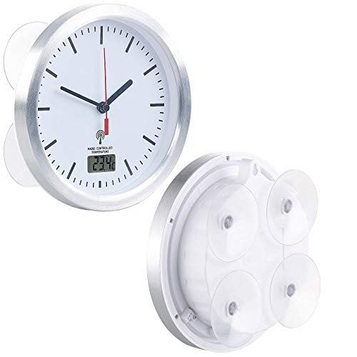 St. Leonhard Badezimmer Funkuhr: Badezimmer-Funk-Wanduhr mit Thermometer & Saugnäpfen, Alu-Rahmen, IPX4 (Badezimmer Funkuhr mit Saugnapf)