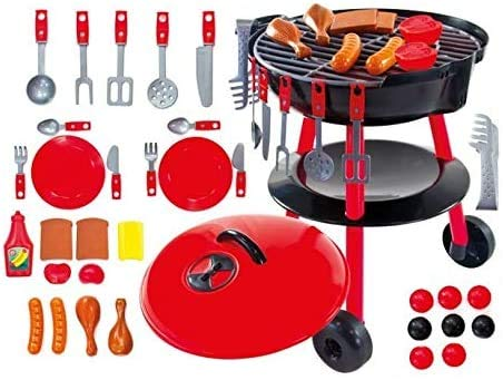 Barbecue Grill Kids Cooking Kitchen Toys Indoor Outdoor Garden with BBQ accessories Toddler pretend play food cuterly charcoal +1yrs