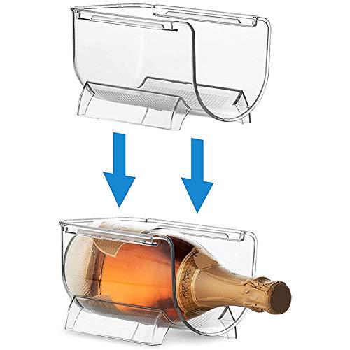 Organizador de botellas de vino transparente apilable de plástico para encimeras de cocina, despensa y nevera.