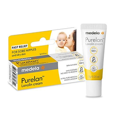 Medela Purelan 100% natürliche Creme, 100% Lanolin, 7 g, ideal für Brustwarzen und trockene Haut der ganzen Familie