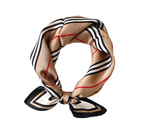 JERLA Women's Men's Small Square 100% Real Mulberry Silk satin Scarfs Hair head face scarf 21' x 21' (Stripe khaki)