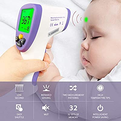 Digital Forehead Infrared Thermometer, Non-Contact Forehead Ear Fever Thermometer for Kids and Adult - FDA Approved