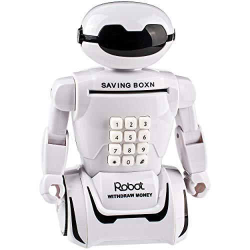 alles-meine.de GmbH elektronische Spardose + Tischlampe - Roboter - mit Zahlenkombination / Passwort + Sound + Licht - digitaler Tresor Sparschwein für Kinder Familienkasse Gutsc..
