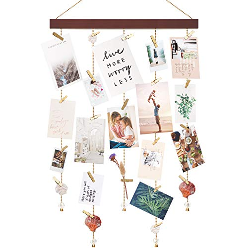 Mkono Hanging Photo Display Wall Hanging Picture Holders with 25 Wood Clips Picture Frame Collage Decoration for Home Office Nursery Room Dorm Holiday Card Display