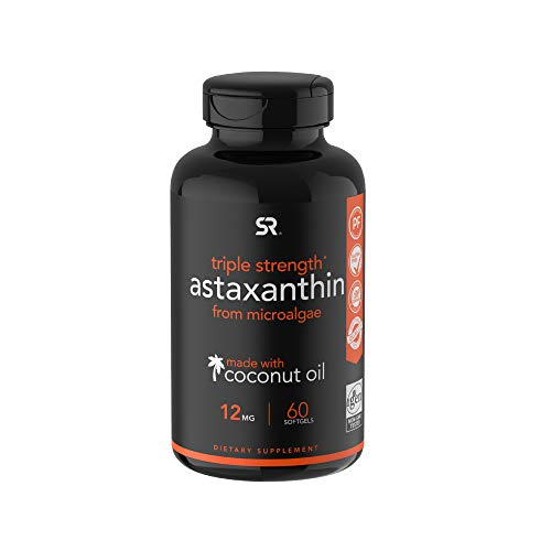 Astaxanthin 12mg with Organic Coconut Oil for Better Absorption - 60 Softgels (2 Month Supply)