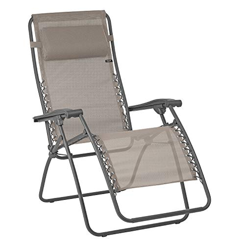 LAFUMA MOBILIER Sedia a sdraio reclinabile Relax, Pieghevole e regolabile, Sistema di sospensione con lacci, RSXA, Texplast, Colore: castagna, LFM2045-9147