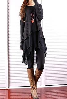 09a0e870c1fc Women s Oversize Asymmetrical Layered Knit Sweater and Chiffon Tunic Dress  Set Black