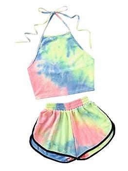 SweatyRocks Women s 2 Piece Set Halter Crop Top and Shorts Set Tie Dye S
