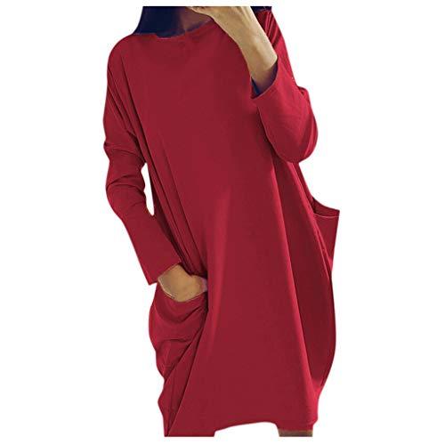 L9WEI Vestido de Manga Larga para Mujer Vestidos Cortos de Color sólido a la Moda Vestido de Cuello Redondo con Bolsillo Mini Vestidos para Mujer Falda Informal Suelta