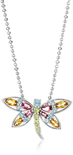 XPY Sterling Silver Multi-Gemstone Dragonfly Pendant Necklace, 18