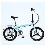 Xiaoyue Frauen Faltrad, 20 Zoll 7-Gang Erwachsene faltbares Fahrrad Pendler, Leichtgewichtler Falträder, High-Carbon Stahlrahmen, Rosa DREI Spokes lalay (Color : Blue Three Spokes)