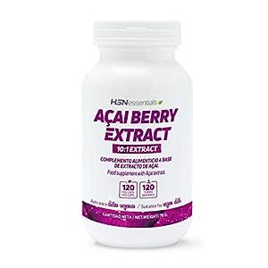 Acai Berry de HSN   500mg   Extracto 10:1, Baya Acai   Potente Antioxidante Natural, Vegano, Sin Gluten, Sin Lactosa, 120 Cápsulas Vegetales